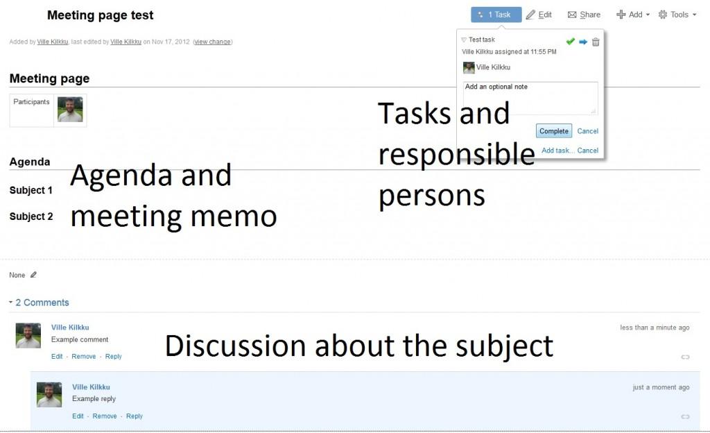 Social meeting memo on Confluence